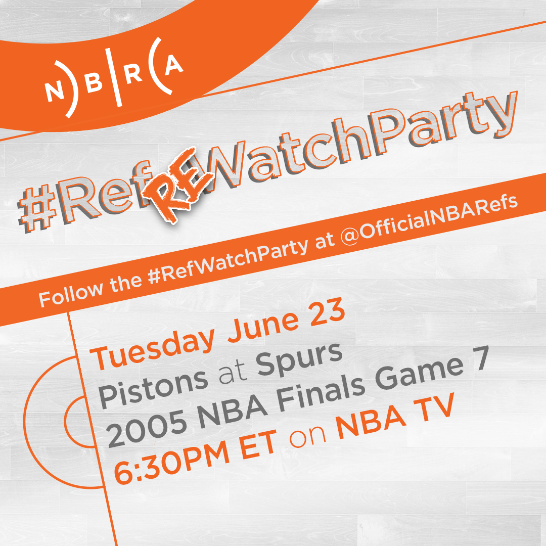 With new games on pause, it's time for a Ref-RE-Watch-Party.  Tonight, it's a #RefWatchParty for a classic game - the 2005 NBA Finals Game 7 match-up between the @Spurs and the @DetroitPistons, airing on @NBATV at 6:30pm ET. Join the conversation while you watch. https://t.co/4ZvTszNAJs