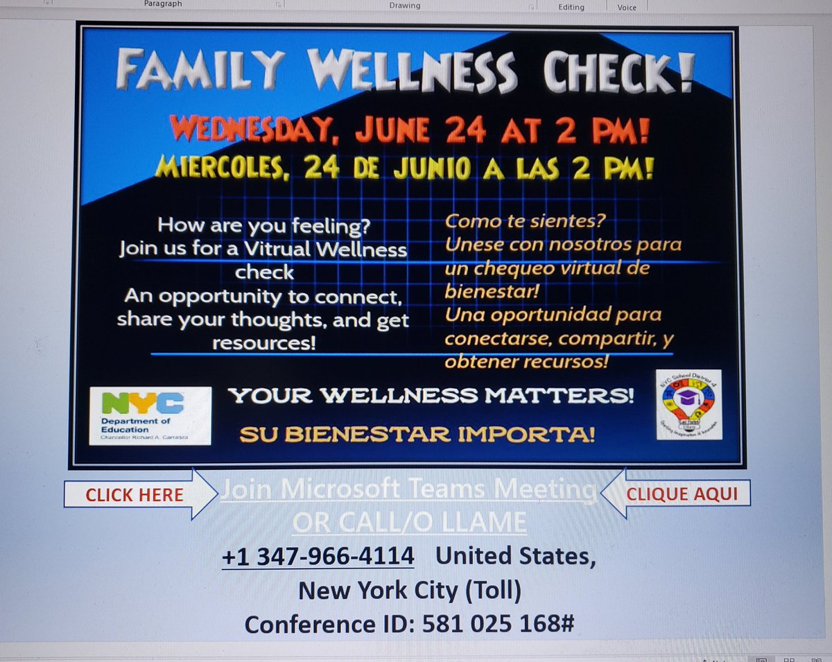 District 4 Family Wellness Check! Join us on Wednesday,  June 24 at 2 PM sharp for a robust conversation and resources!!  @phprepnyc @PSMS206M @PS38RCLC @m_ps102 @PS96ACT @ps155D4 @PS83D4 @TAGPTA @LexingtonAcade3 @PSMS57JamesWel1 @pretto_david @aestrel3 https://t.co/MBdw54RwLT