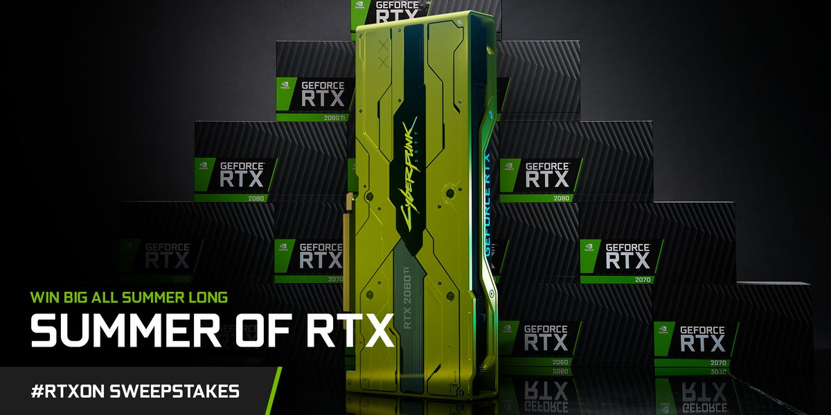 **GeForce RTX 2080 Ti #Cyberpunk2077 Edition has entered the chat**  And for our Summer of RTX sweepstakes we have 7⃣ to giveaway.   Want one?   1. RT this post 🔄 2. Reply with #RTXOn 💬 3. Tag 3 gamers below 👥 https://t.co/zrIeQPK3kO