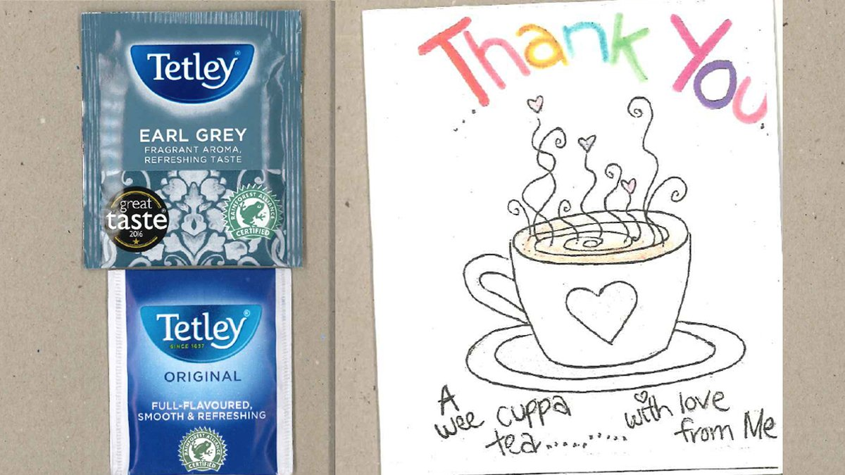We love this act of kindness shared with us from Gabriel & Iris. They've been sending hospital workers these thank you cards with a Tetley tea bag inside so they can enjoy a cuppa when they are able to take a break.   Have you seen any great acts of kindness recently? https://t.co/r3T75I2x88