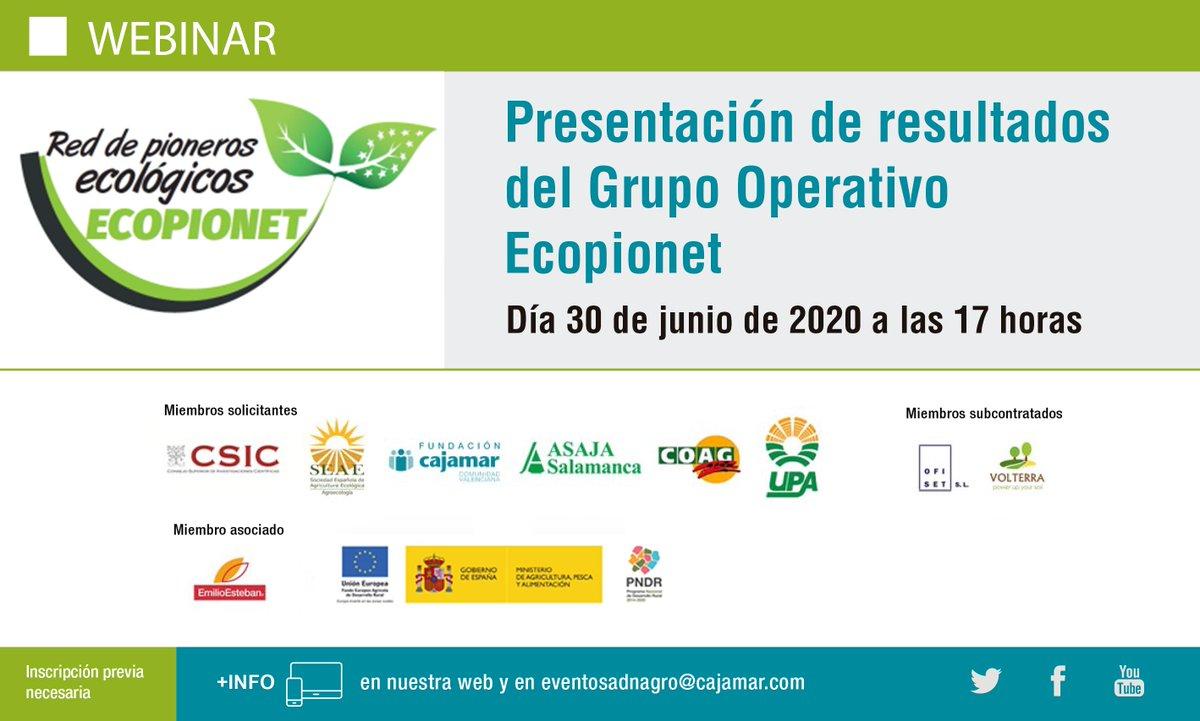 Presentación del resultados del G.O. #Ecopionet @CSIC @ADNAgroFood @upacyl @ASAJASalamanca @La_COAG @SEAE_Agroecolog martes 30 de junio a las 17 horas #webinar https://t.co/x0mCD77JPn