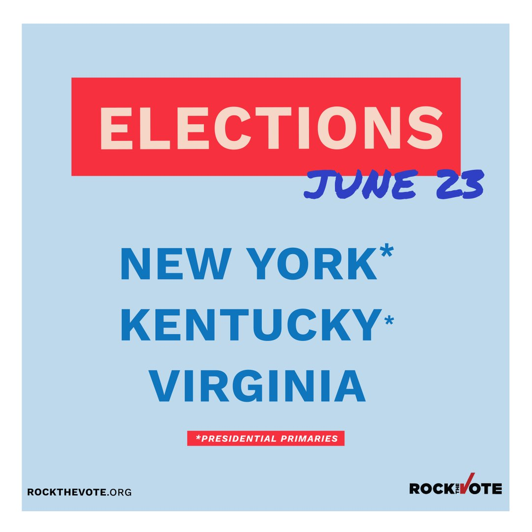 Today in #NewYork, #Kentucky and #Virginia, let's Rock The Vote!  Find info on your state: https://t.co/4rcY1uKBdn https://t.co/ukx9t8bMnW