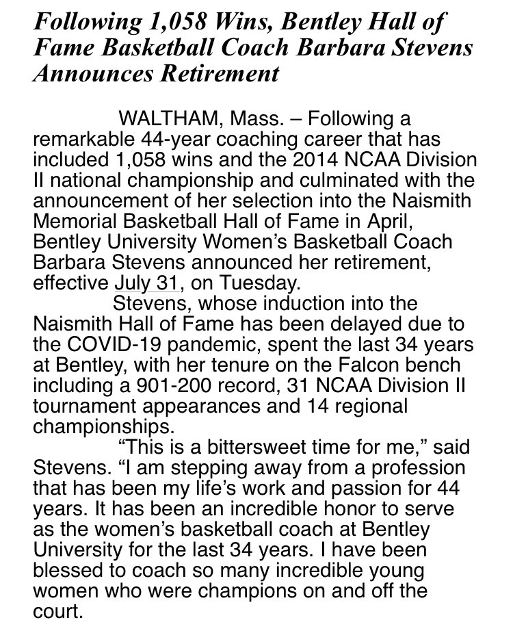 Going out on top....  @Hoophall HOFer @bentleyu Women's Basketball Head Coach Barbara Stevens announces her retirement!  Amazing career that impacted so many - both on and off the court!   Congrats Coach and enjoy retirement!  @wbz #wbz @BentleyFalcons https://t.co/P2sBIGN2X6