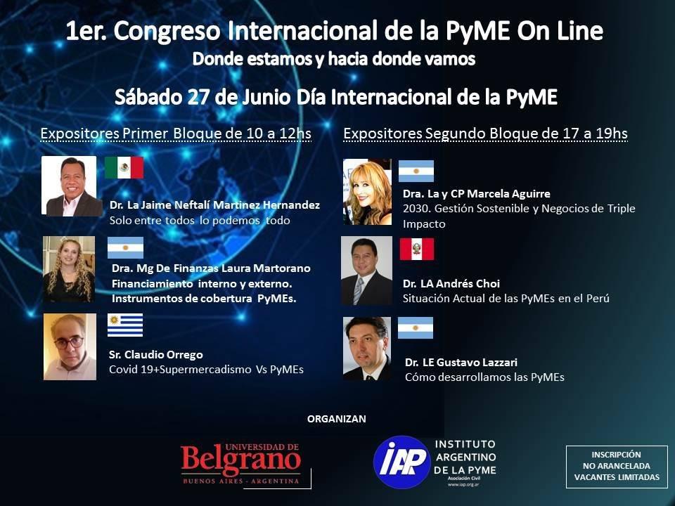 1er. Congreso Internacional de la PyME On Line Vacantes Limitadas / Sábado 27 de Junio La inscripción al mismo sera via eventbrite y mediante el siguiente link: https://t.co/H6GyNDceBK  #pymes #PymesUnidas #emprendedores https://t.co/CgVWyrhLH0