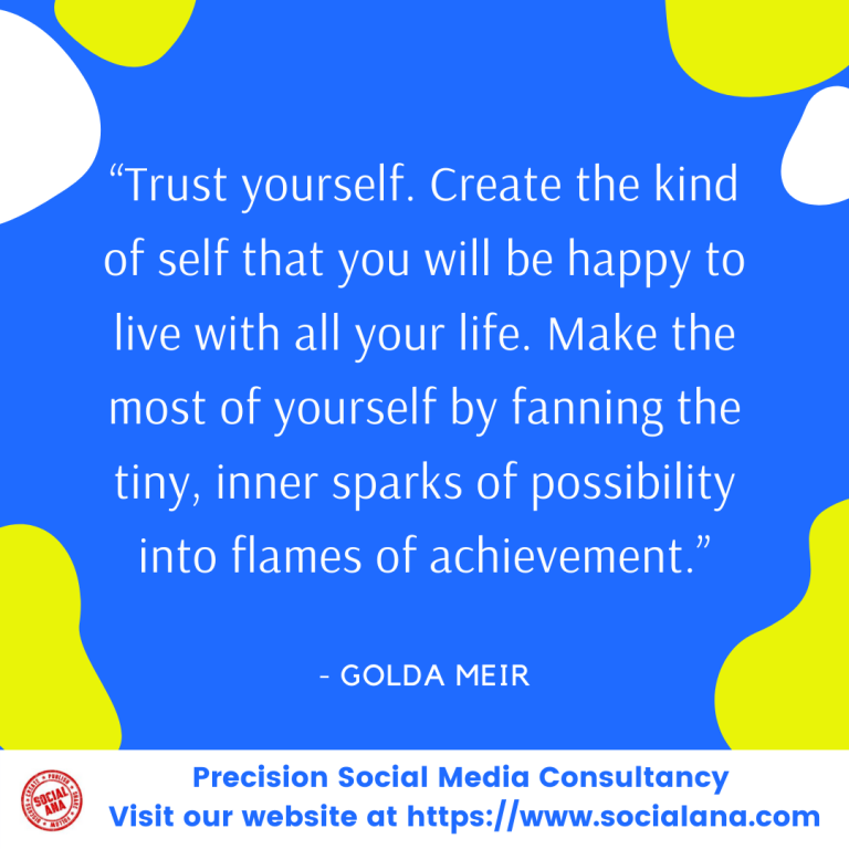 """""""Trust yourself. Create the kind of self that you will be happy to live with all your life. Make the most of yourself by fanning the tiny, inner sparks of possibility into flames of achievement."""" - Golda Meir #MotivationalQuotes #SelfConfidenceQuotes pic.twitter.com/5dKpJj3IIq"""
