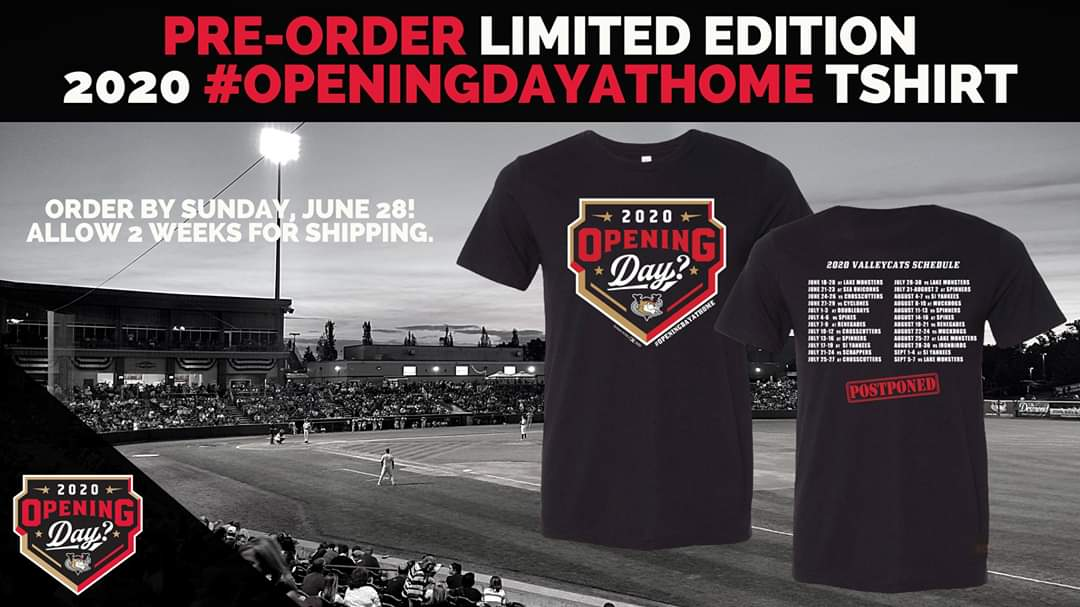 """Although Opening Day looks a little different this year - you can still get the tshirt! This year features the """"Opening Day?"""" logo and season schedule on the back. Pre-order your shirt through June 28th and join us online tomorrow for #OpeningDayAtHome!  https://t.co/wPYv7dIs4O https://t.co/i6GlBXPNXW"""