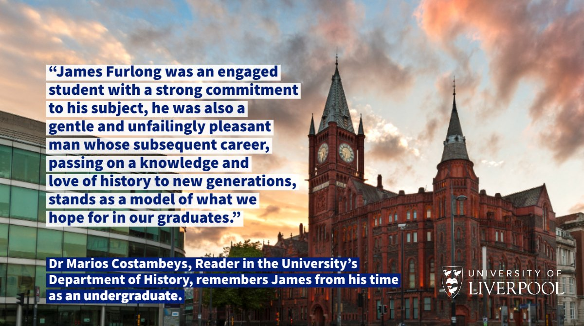We are shocked and saddened to learn of the death of one of our alumni, James Furlong, who graduated with a History & Politics degree in 2004. Dr Marios Costambeys, a Reader in our Department of History, remembers James from his time as an undergraduate: news.liverpool.ac.uk/2020/06/23/tri…