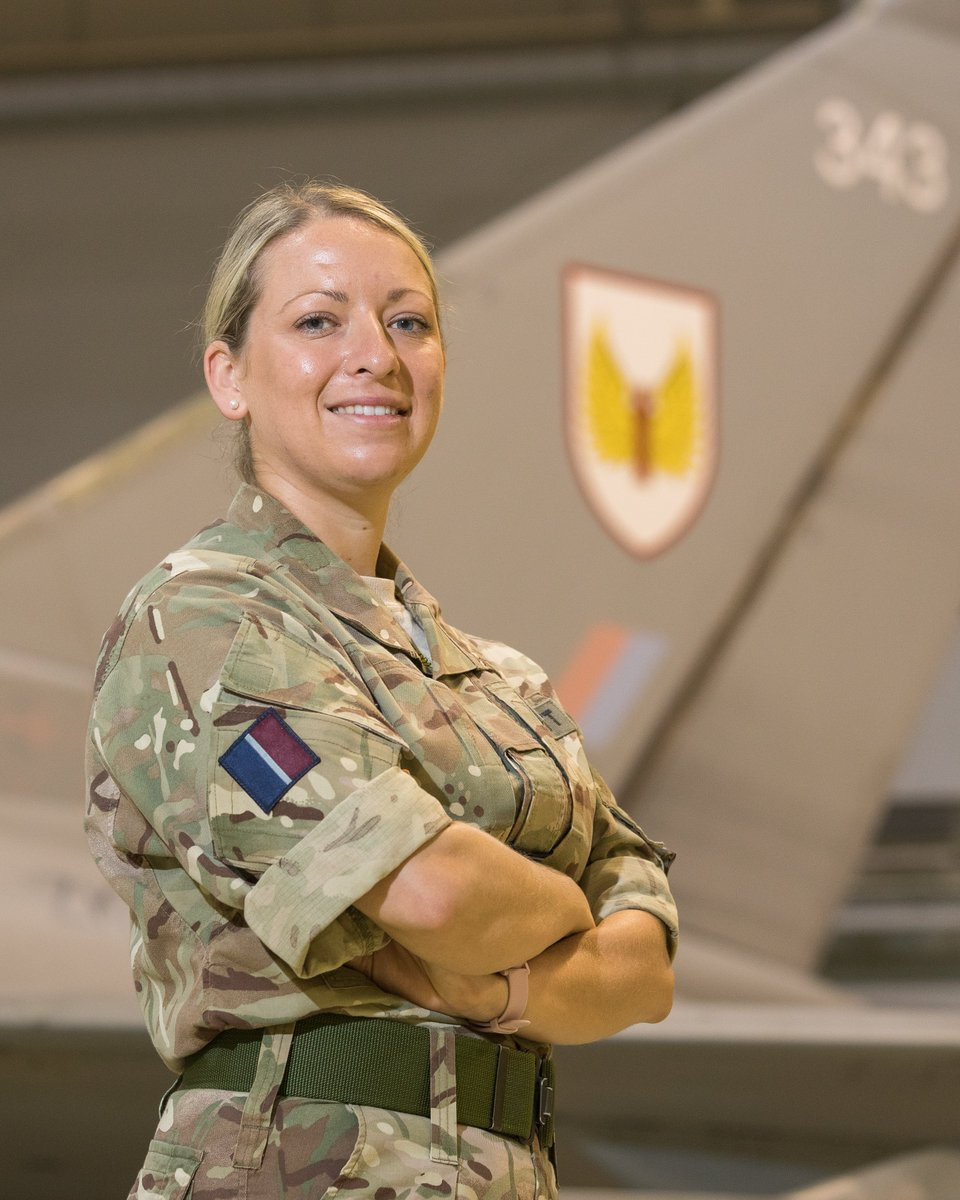 Flt Lt Dani Barnett is one of two Junior Engineering Officers on Number 1 (Fighter) Squadron.   Dani is ultimately responsible for whether @RoyalAirForce Typhoons get airborne.   Find out more about her experiences in the RAF: https://t.co/iKSvlgrfjd  #INWED20 #NoOrdinaryJob https://t.co/PN6jBJIIWZ