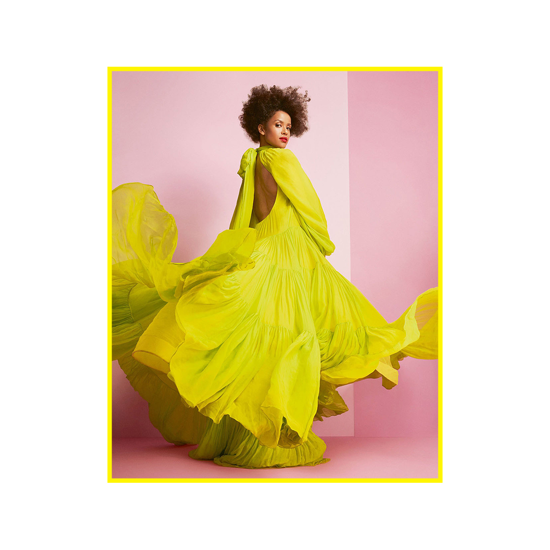 For the #HarpersBazaarUK April cover story, #RichardPhibbs photographed #GuguMbathaRaw in a fluorescent silk dress from #ValentinoSS20 by #PierpaoloPiccioli.