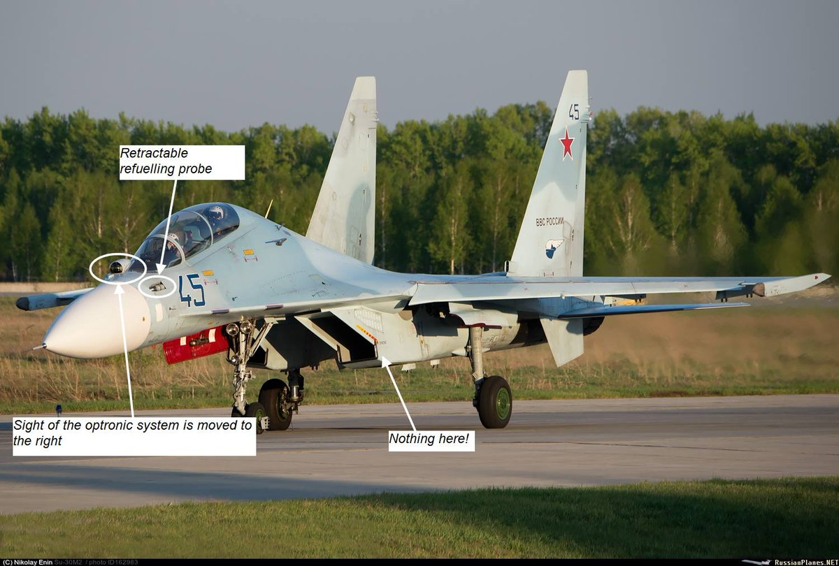 Su-30 is a multirole fighter based on the Su-27UB. There are a lot of variants of Su-30 but they all have some significant differences from their predecessor: