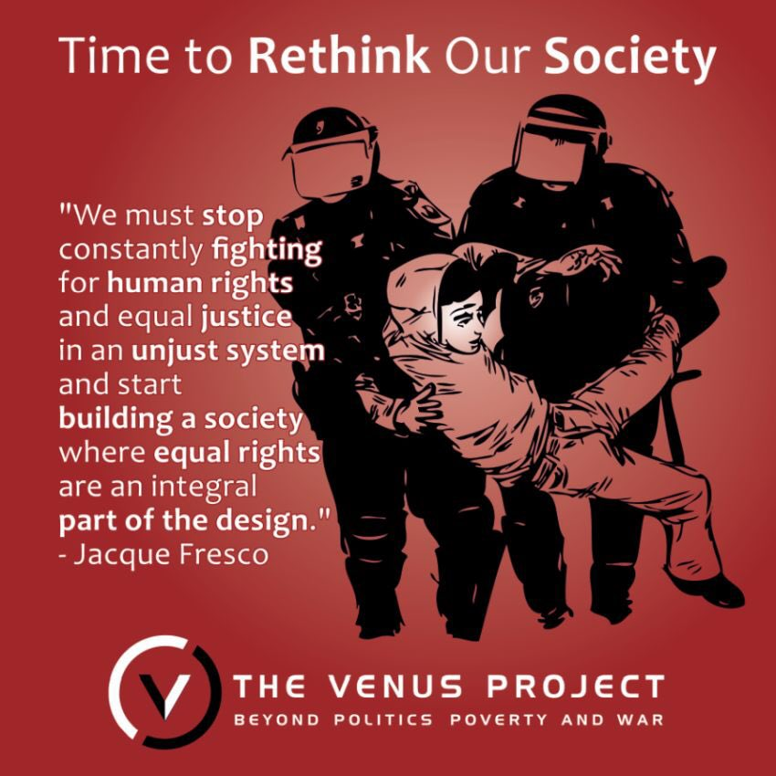 Time to Rethink Our Society To truly evolve into a civilized society, we must continue to investigate the root causes of socio-economic problems.   #ResourceBasedEconomy  #RBE  #capitalism #protests #Riots #SocialDesign  #TheVenusProject  #TVP  #RoxanneMeadows  #JacqueFresco https://t.co/qqmMQ4rWz2