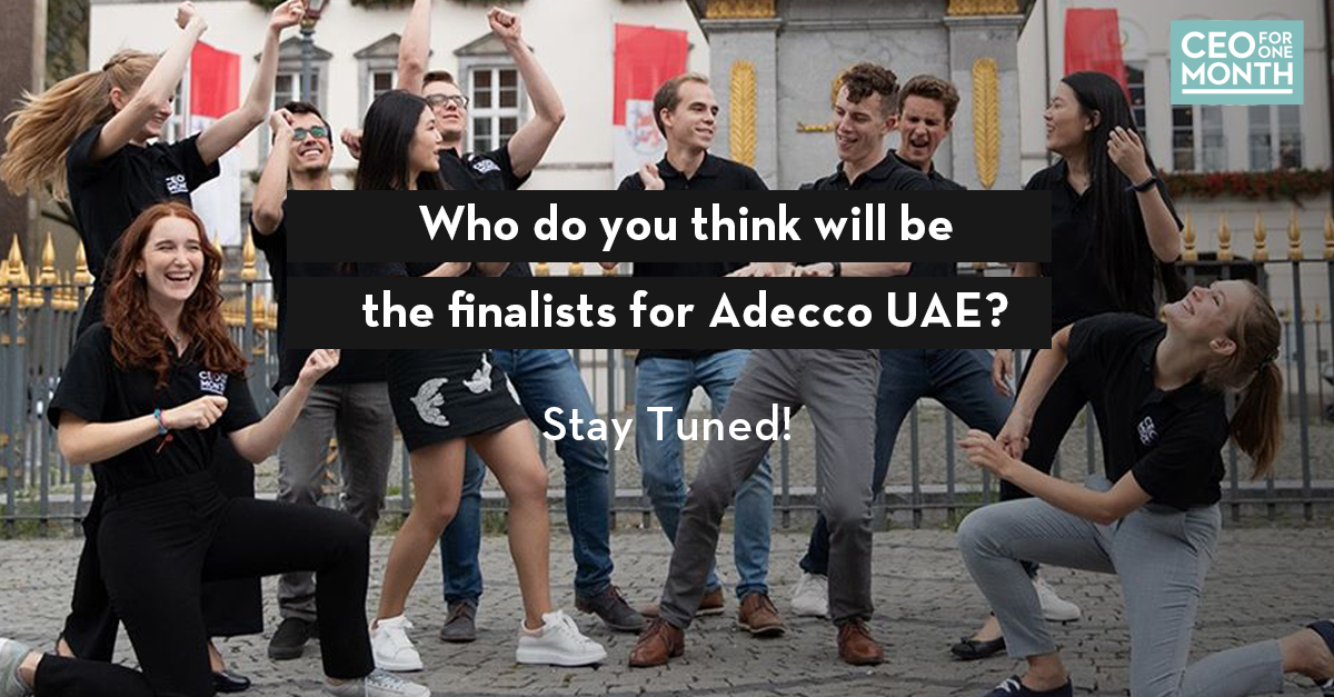 We'll soon pick our finalists qualifying the 'CEO for One Month' Bootcamp for Adecco UAE. Stay tuned for announcement this week!  Know more about our CEO for One Month program https://t.co/zZwQbkLbpg #CEOforOneMonth #adeccomiddleeast https://t.co/1T4JySYCd5