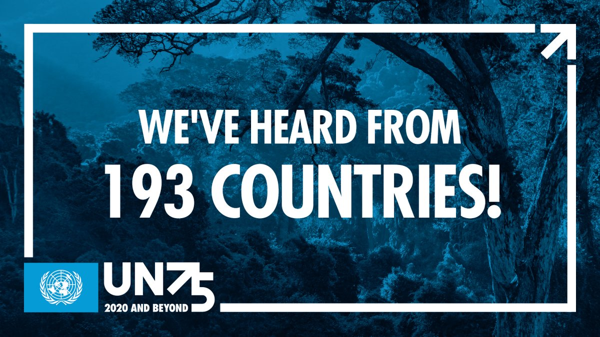 We are so pleased to announce that we have now heard from 193 countries!! Thank you 🌏 for having YOUR say - we hear you! #UN75  Let's keep #ShapingOurFuture together ➡️ https://t.co/Lq7q1H6ESi https://t.co/jhzK0H91ga