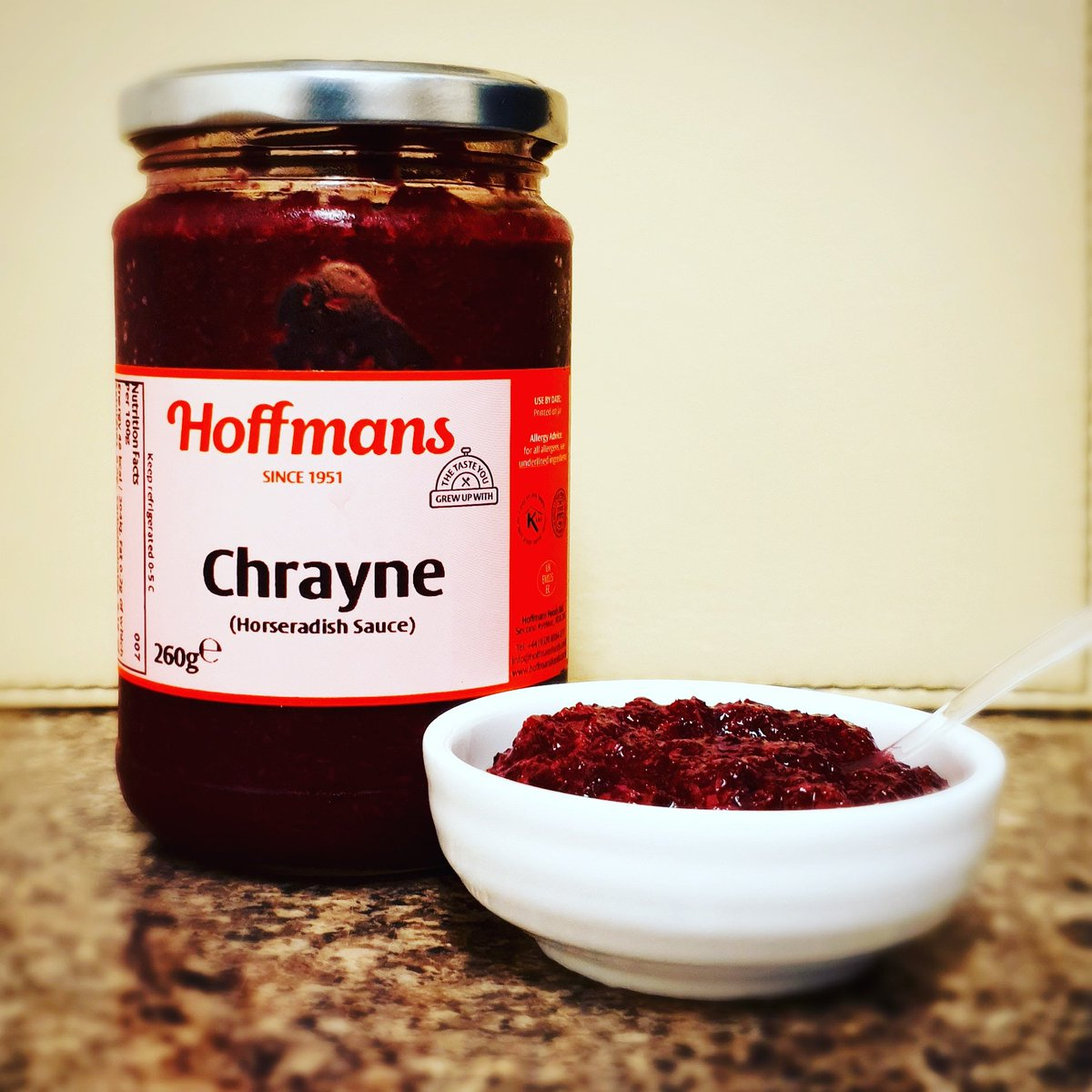 Chrayne! A classic in every Jewish home, available at your local kosher supermarkets.  #hoffmansfoods #since1951 #thetasteyougrewupwith #chrayne #horseraddish #sauce #kosher #kosherfood #food #instagram #foodie #Hoffmans #Kosher https://t.co/sYCCT7pYWN