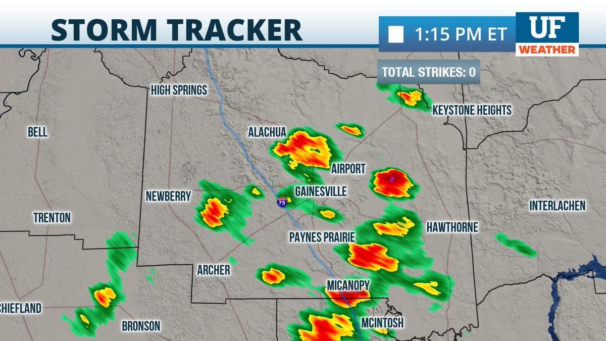 Downpours are becoming more scattered around #Gainesville this hour. #FLwx
