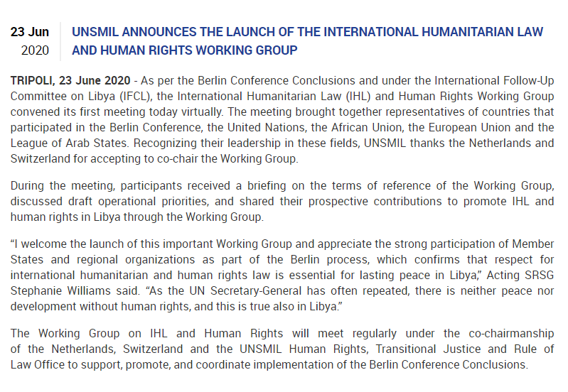 UNSMIL announces the launch of the International Humanitarian Law and Human Rights Working Group - #Libya   https://t.co/KiDFRR3jKG https://t.co/Khm8QqhEOr