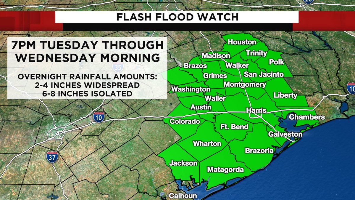 FLASH FLOOD WATCH issued for the Channel 2 Viewing area for heavy rain overnight tonight! #kprc2 #Go2Weather #Forecast -->