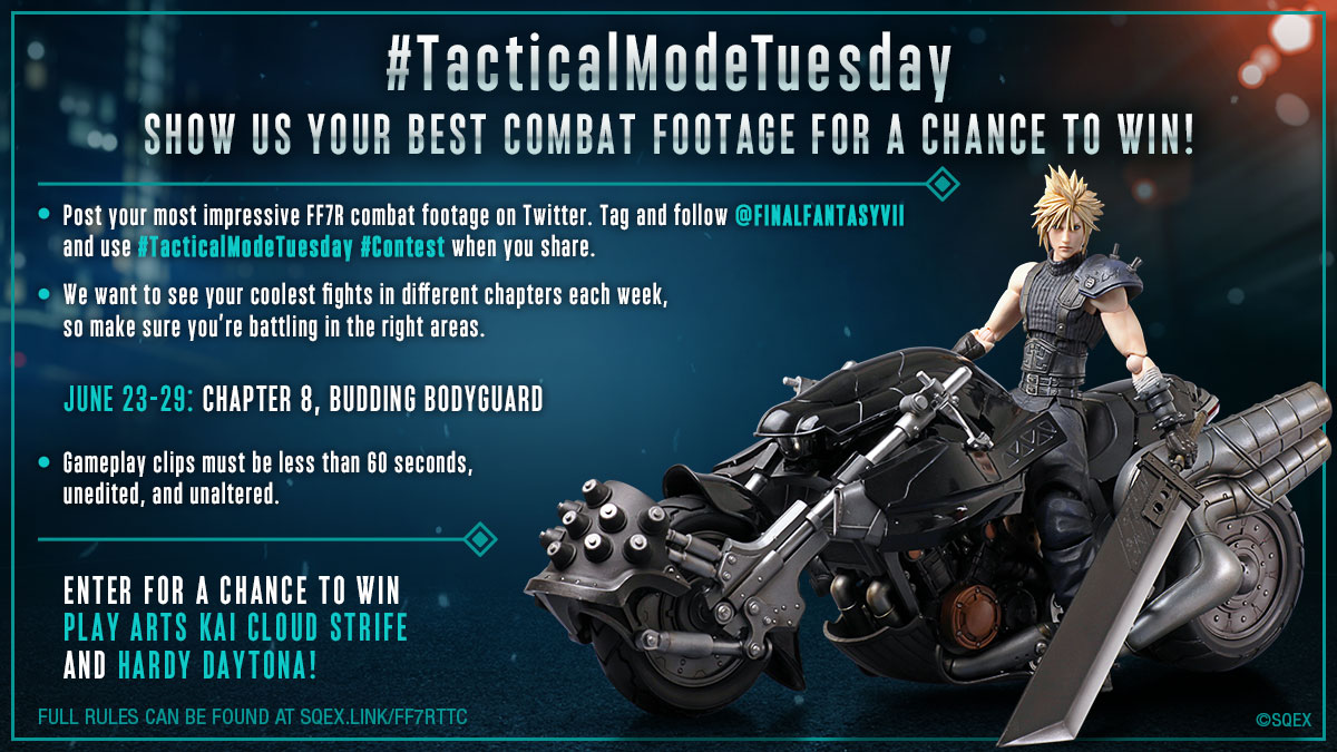 Week 3 of our #TacticalModeTuesday contest has begun. Show us your coolest fights from Chapter 8 of #FF7R!   We'll announce Week 2's winners soon, so stay tuned. Full rules: https://t.co/jaAwsfas5t https://t.co/9uxb04lhnJ