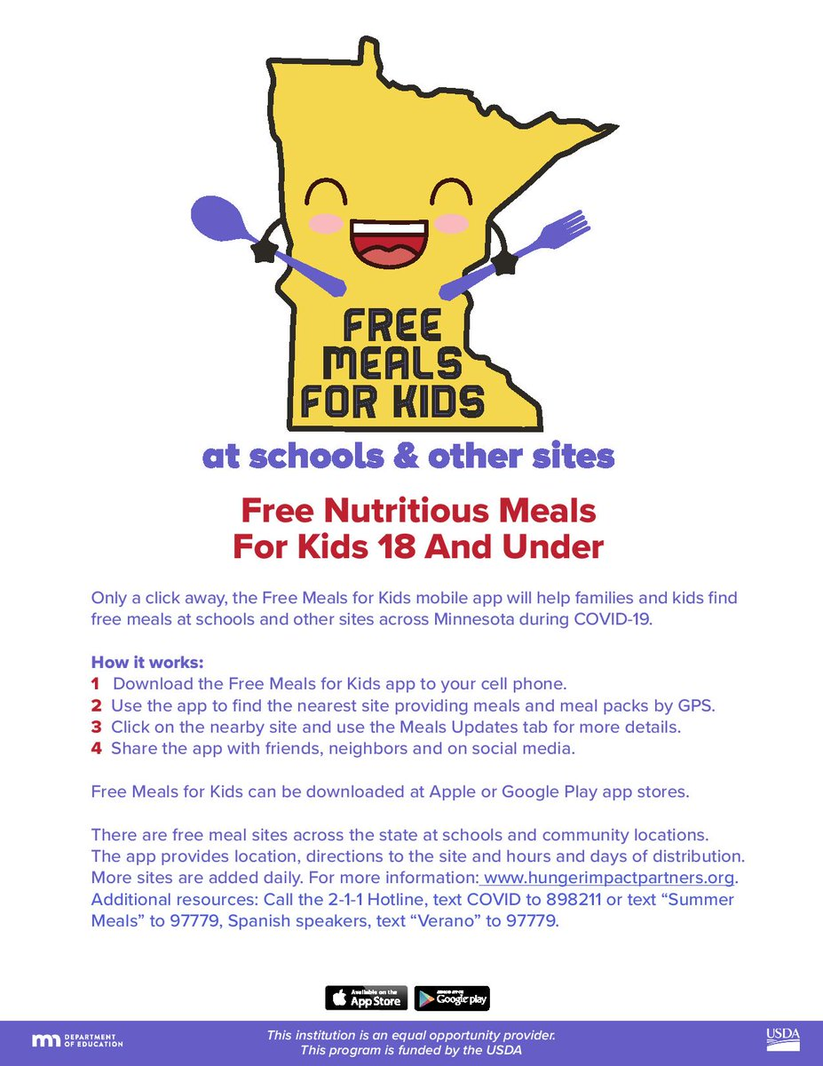 Nutritious, free meals will continue to be available for children under the age of 18. Due to the pandemic, families will be continue to be able to pick-up meals from many sites. To find a location serving meals near you, download the Free Meals for Kids App. (2/2) https://t.co/Z9d1hRb1x7