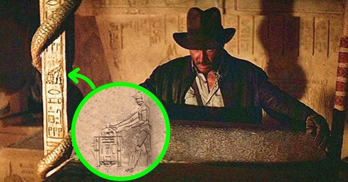 In 'Indiana Jones and The Raiders of the Lost Ark' (1981), when Indy finds the ark, R2-D2 and C-3PO can be seen