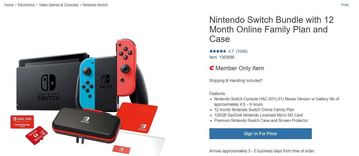Wario64 On Twitter Nintendo Switch Bundle With 12 Month Online Family Plan And Case May Be Available At Costco 349 99 Costco Membership Required Https T Co Ytyu3xcmvs Https T Co I7z2zyv7xi Mar 13, 2020   by nintendo. wario64 on twitter nintendo switch