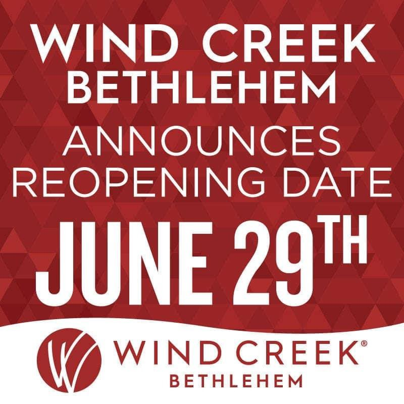 We're excited to announce that we will be reopening to the public on Monday, June 29th at 6AM! We have adopted new policies to ensure that your next visit is both fun and safe: bit.ly/WindCreekStand… Gambling Problem? Call 1-800-Gambler.