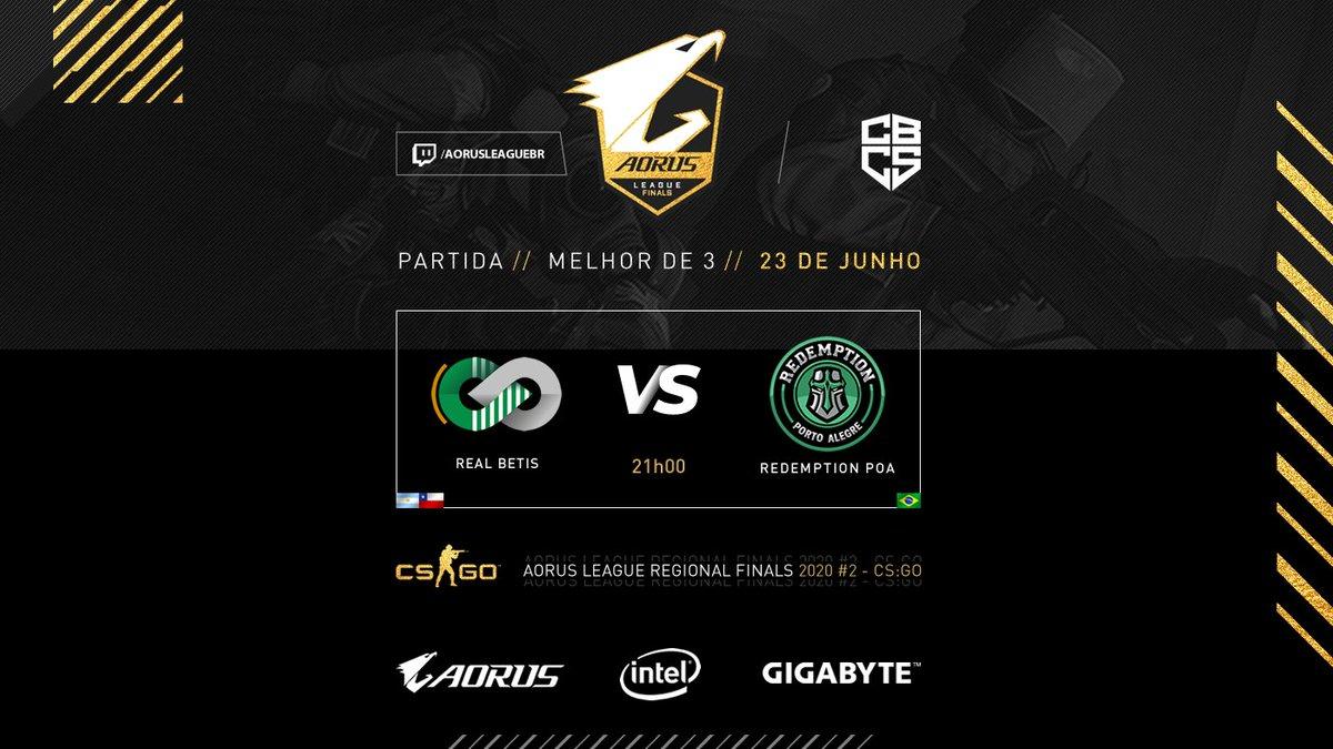 Hoje a partir das 21h teremos a primeira semifinal da #AorusLeague Regional.  @RedemptionPOA do Brasil vai jogar contra @CreamRealBetis da Argentina!    Assista ao vivo em: https://t.co/4sti2YA7Nw e https://t.co/PtTPVlRIQj  @CBCS https://t.co/pccn34DvJX