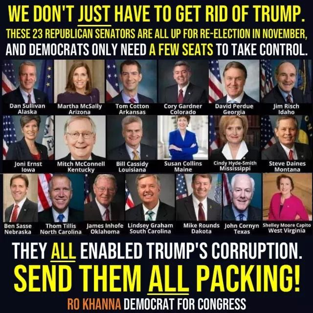 These Senators are President* Trump's enablers. They violated their oath to do impartial justice by refusing to call John Bolton as a witness and by acquitting President* Trump in February 2020. They are unfit to lead. Please pass it on: Vote these Senators out in November.