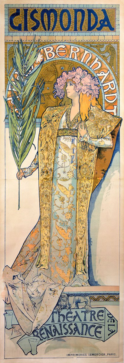 """Poster of Sarah Bernhardt as Gismonda (1895)"" Alfons Maria Mucha (24 July 1860 – 14 July 1939) was a Czech painter, illustrator and graphic artist."