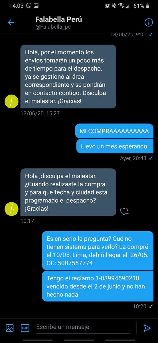 @miguelopse @Falabella_pe Me pidieron mis datos por la mañana y aún no miran mi DM jajaja https://t.co/EVgng3ulVR