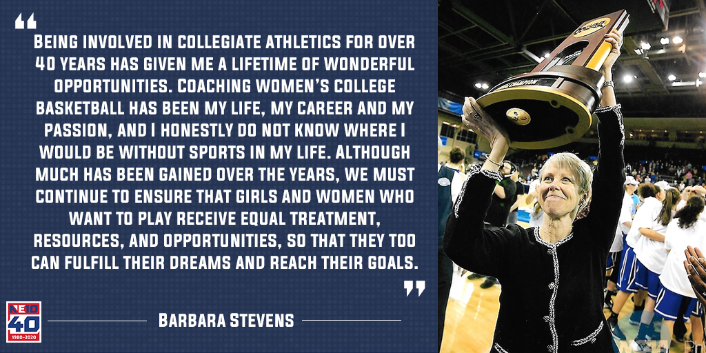 This is the 4⃣8⃣th anniversary of #TitleIX.   In February, @BentleyFalcons Barbara Stevens discussed the impact of sports in her life on National Girls and Women in Sports Day.   She announced her retirement today and sits fourth on the @ncaawbb career wins list.  #NE10EMBRACE40 https://t.co/WCoOLKPQSQ