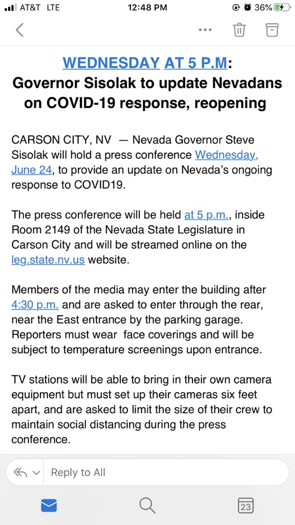 Please tune in tomorrow at 5 p.m. for an important update on Nevada's ongoing response to COVID19. https://t.co/p9LVfiKRfs