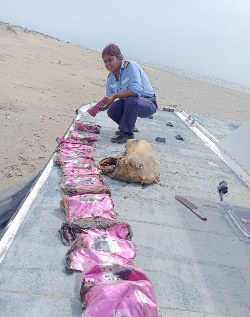 Coast Guard recovers 8 packets of Charas worth Rs. 1.32 crore from islands close to Jakhau