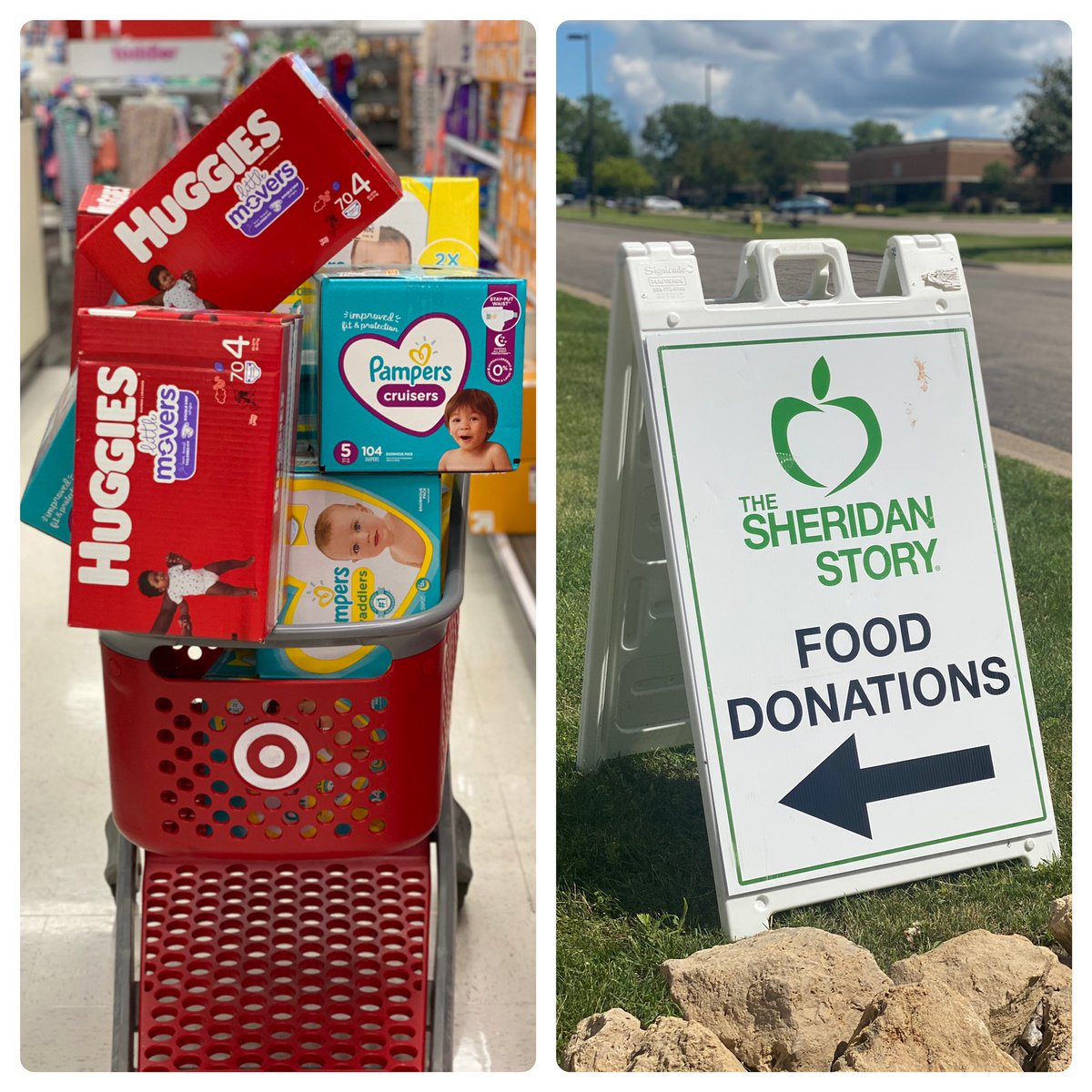Diaper duty! This morning, I dropped off a bunch of diapers and baby wipes at @SheridanStory. Feels good giving back to those in need. Thank you to everyone who donated!