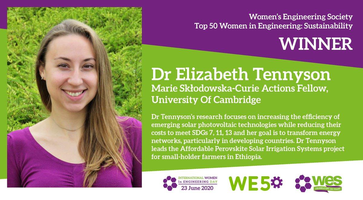 Congratulations to Dr Elizabeth Tennyson #WE50