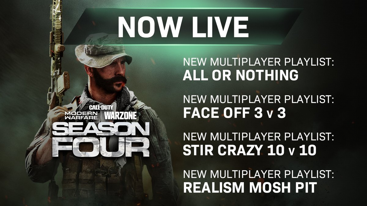 Playlist changes for #ModernWarfare are now live.