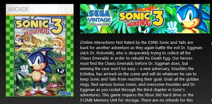 Cheap Ass Gamer On Twitter Sonic The Hedgehog 3 X1 360 2 49 Via Xbox Live Gold Price Sonic The Hedgehog 3 Knuckles Unlocks If You Own Sonic Knuckles X1 360 Https T Co Lk85kityfs Https T Co Lia3kfw5uh