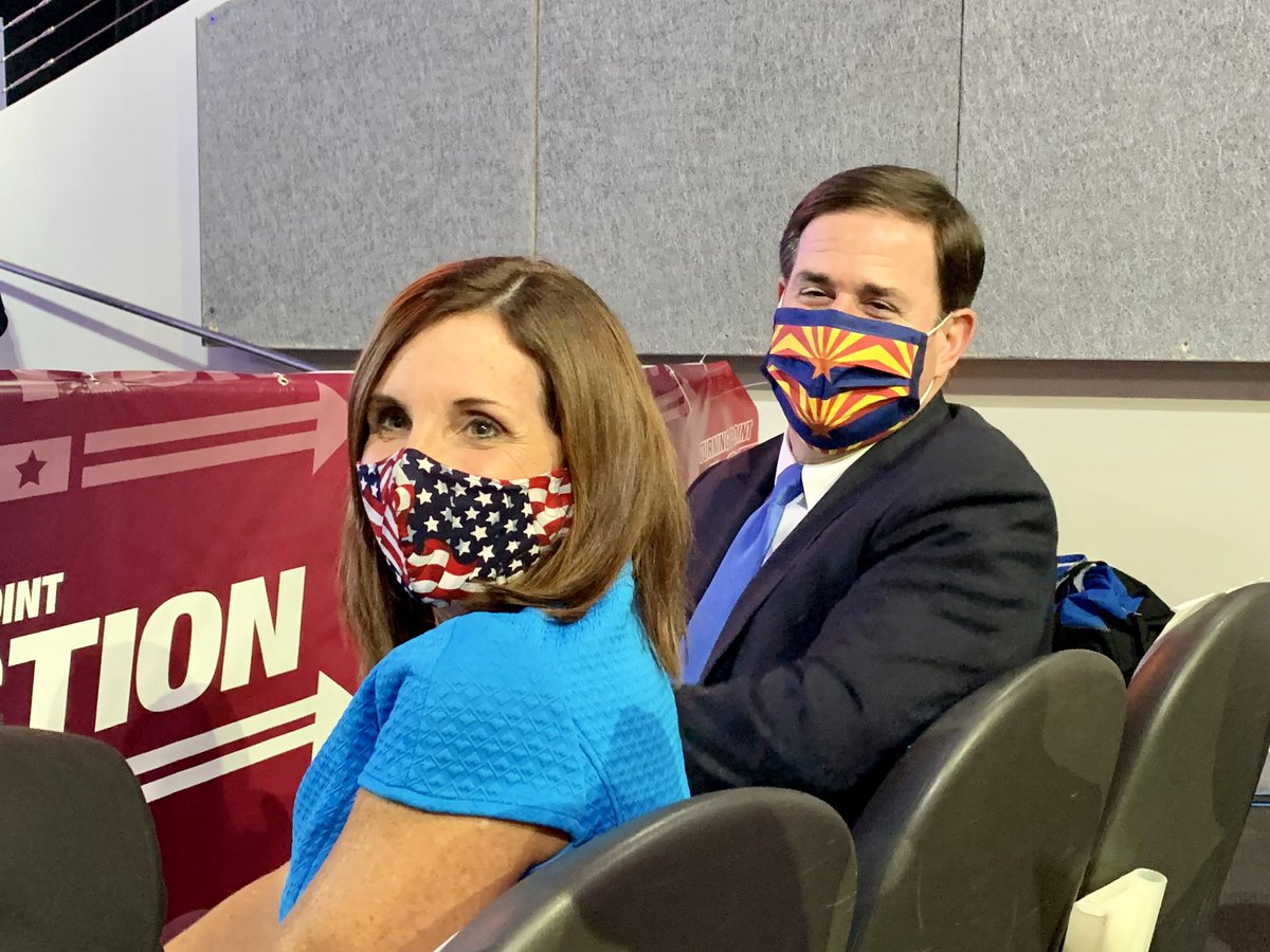 .@dougducey and @senmcsallyaz look great in their patriotic Arizona and USA masks! 🇺🇸 🌵