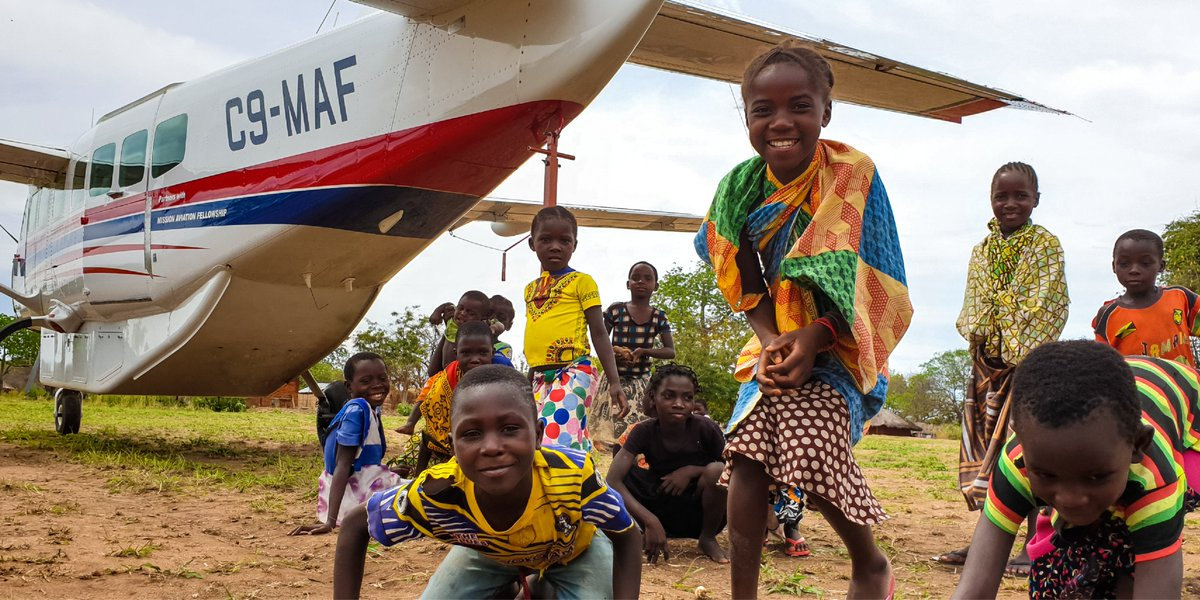 Its always fun to see how people gather around our airplanes across the world! Kids are gathered around #C9MAF in Mozambique in this photo! #iflyMAF #75YearsofMAF