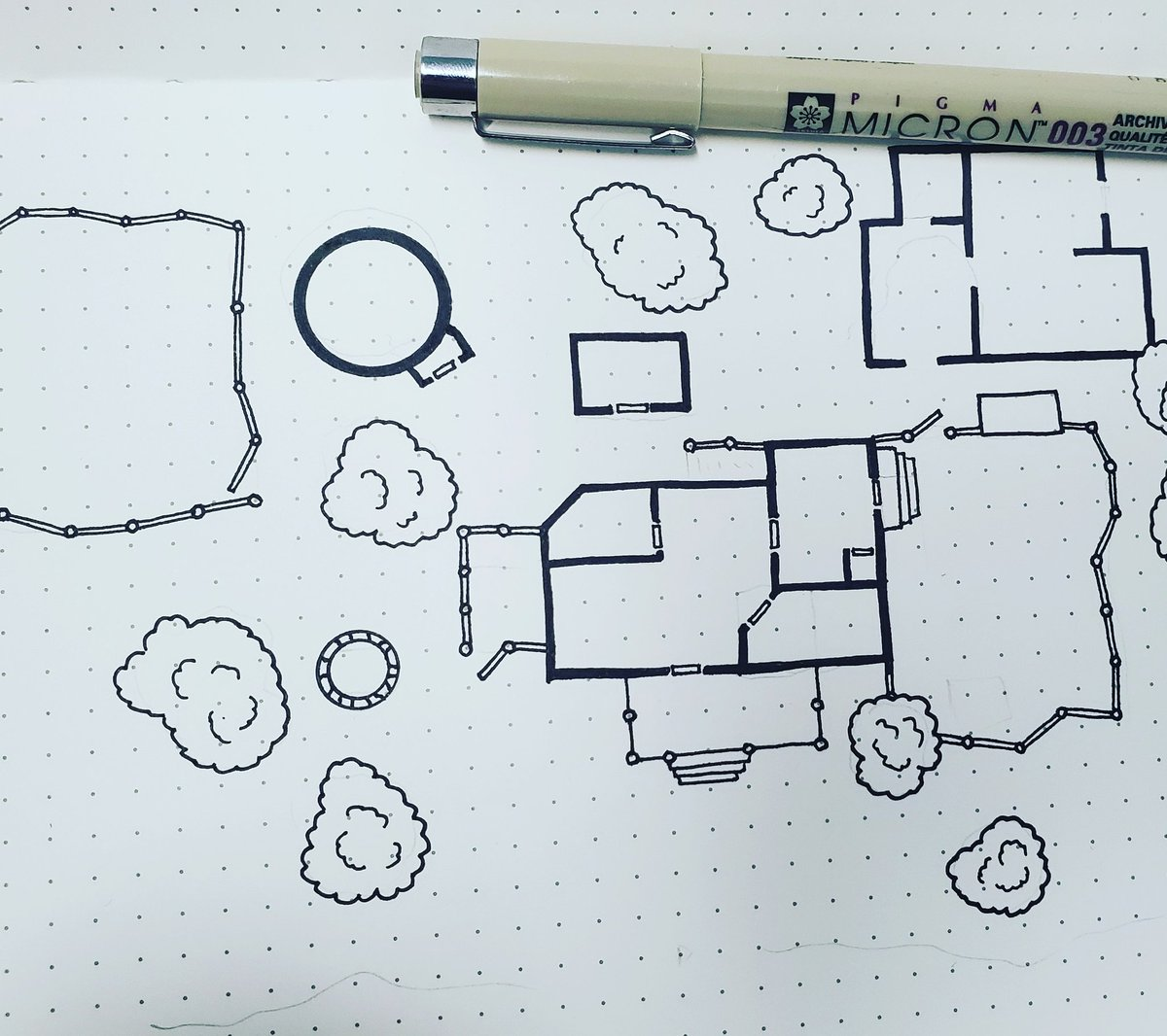 Its been a while since I've drawn a #dnd #map. So here is a small farm house with a tower and a workshop.  #dndmaps #cartography #micron #micronpens #dnd5e #maps #battlemaps #dndmappic.twitter.com/Wtwf9oxaWQ