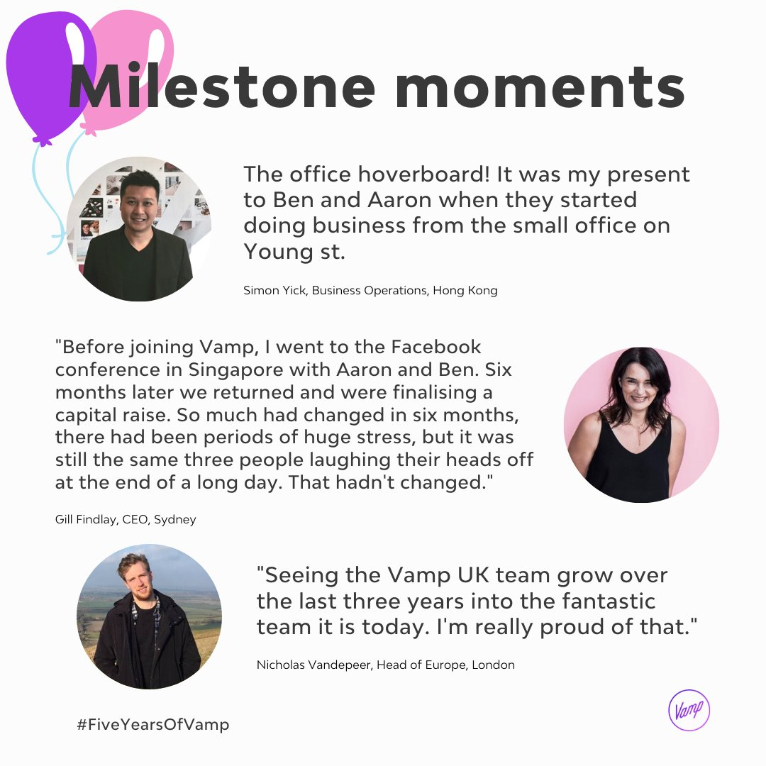 Wrapping up our #FiveYearsOfVamp #MilestoneMoments with none other than @GildoNew Vamp's CEO  Simon, Vamp's Business Operator in HK and our Head or Europe, Nicholas also share their memories with us!  Thank you to all our clients, creators and team members for the last 5 years 🥳 https://t.co/IxoPaWdqYy
