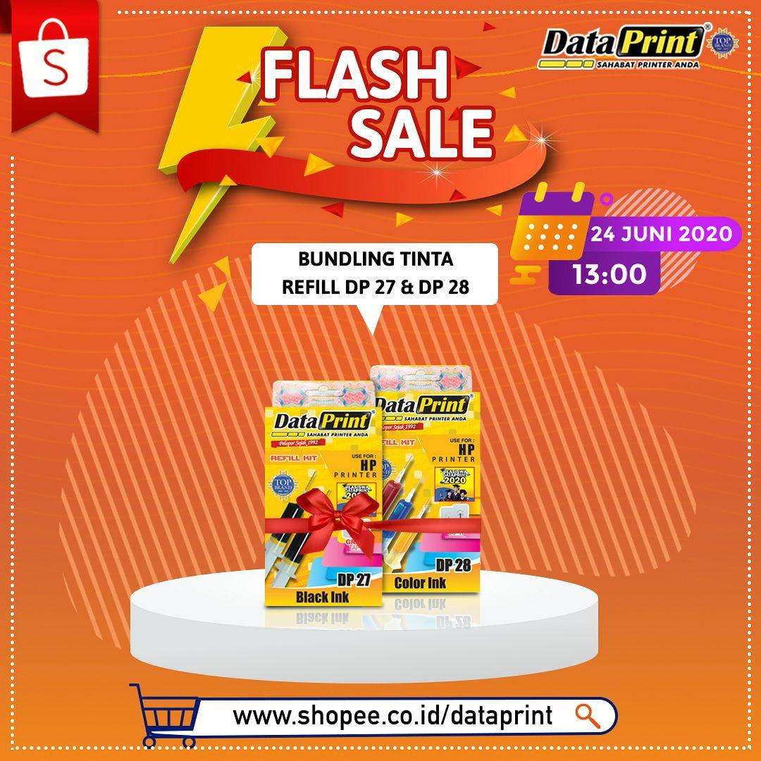 DataPrint Flash Sale hanya di Shopee mall DataPrint  Untuk pembelian produk DataPrint Bundling tinta refill  DP27 & DP28 hanya di official store DataPrint SHOPEE -> https://t.co/LWYf7K9HCH  Tanggal 24 juni 2020 Pk 13.00 Jangan lupa follow toko DataPrint ya   #shopee #sale https://t.co/Mco7a9N117