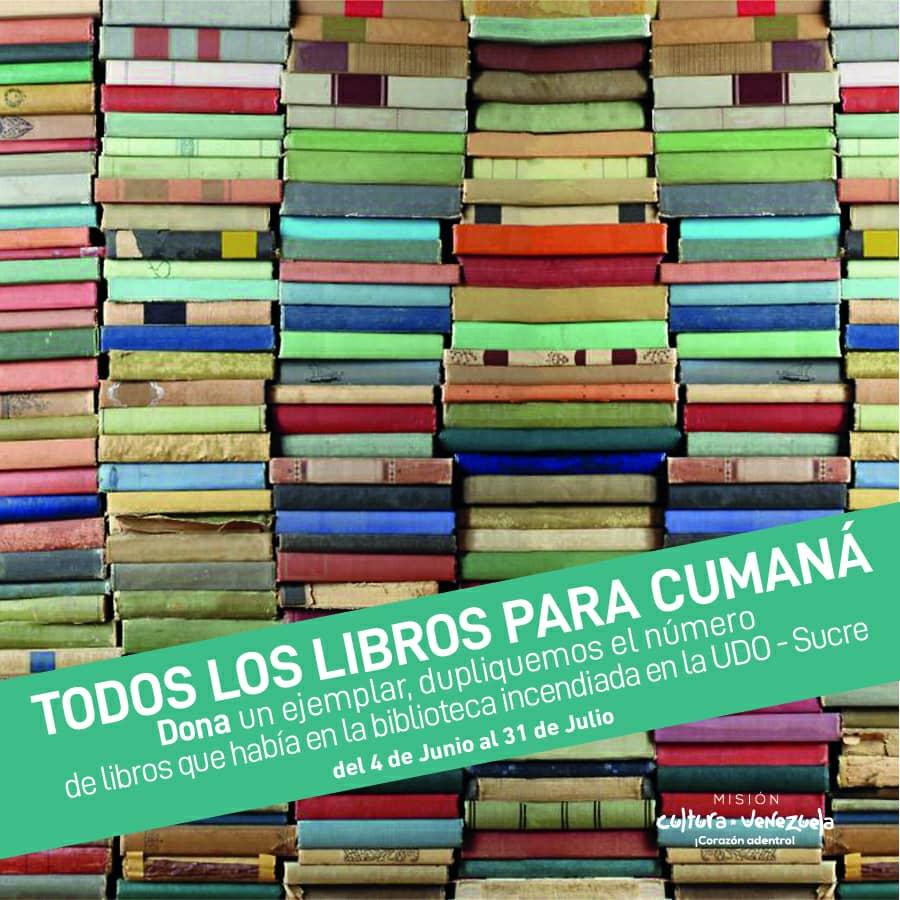 """Juntos podemos duplicar el número de ejemplares que tenía la biblioteca de la #UDO_Sucre. Súmate a la campaña """"Todos los #libros para #Cumaná"""" donando material bibliográfico, discos, videos y demás recursos útiles para los estudiantes de este núcleo.   #25May #FelizJueves https://t.co/tSAljIjHbT"""