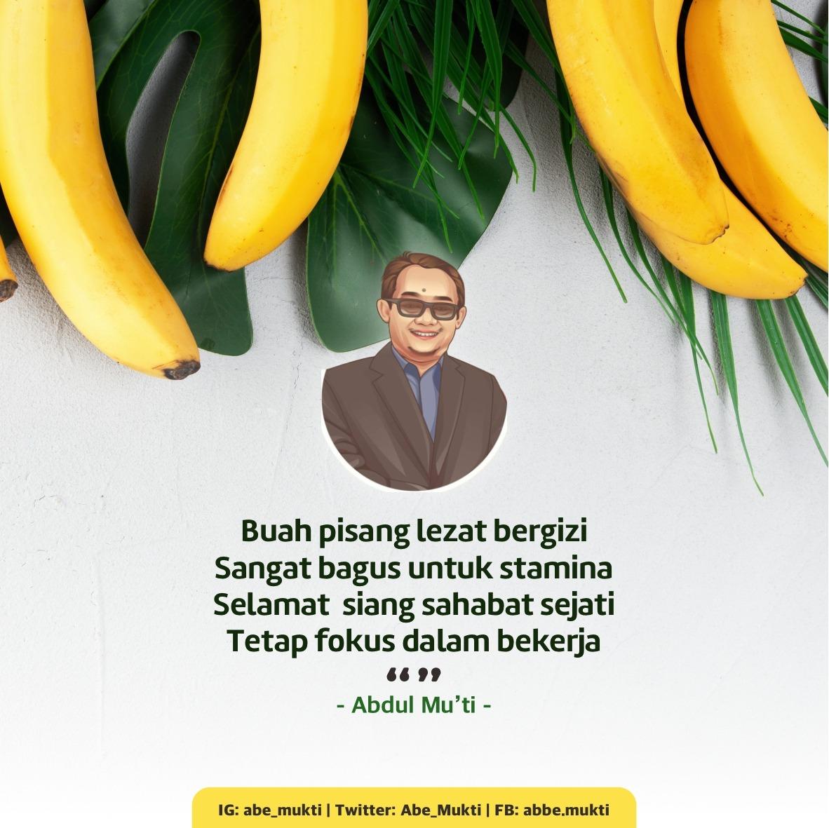 Buah pisang lezat bergizi/ Sangat bagus untuk stamina/Selamat  siang sahabat sejati/ tetap fokus dalam bekerja😀 https://t.co/e7ck91hTJ0