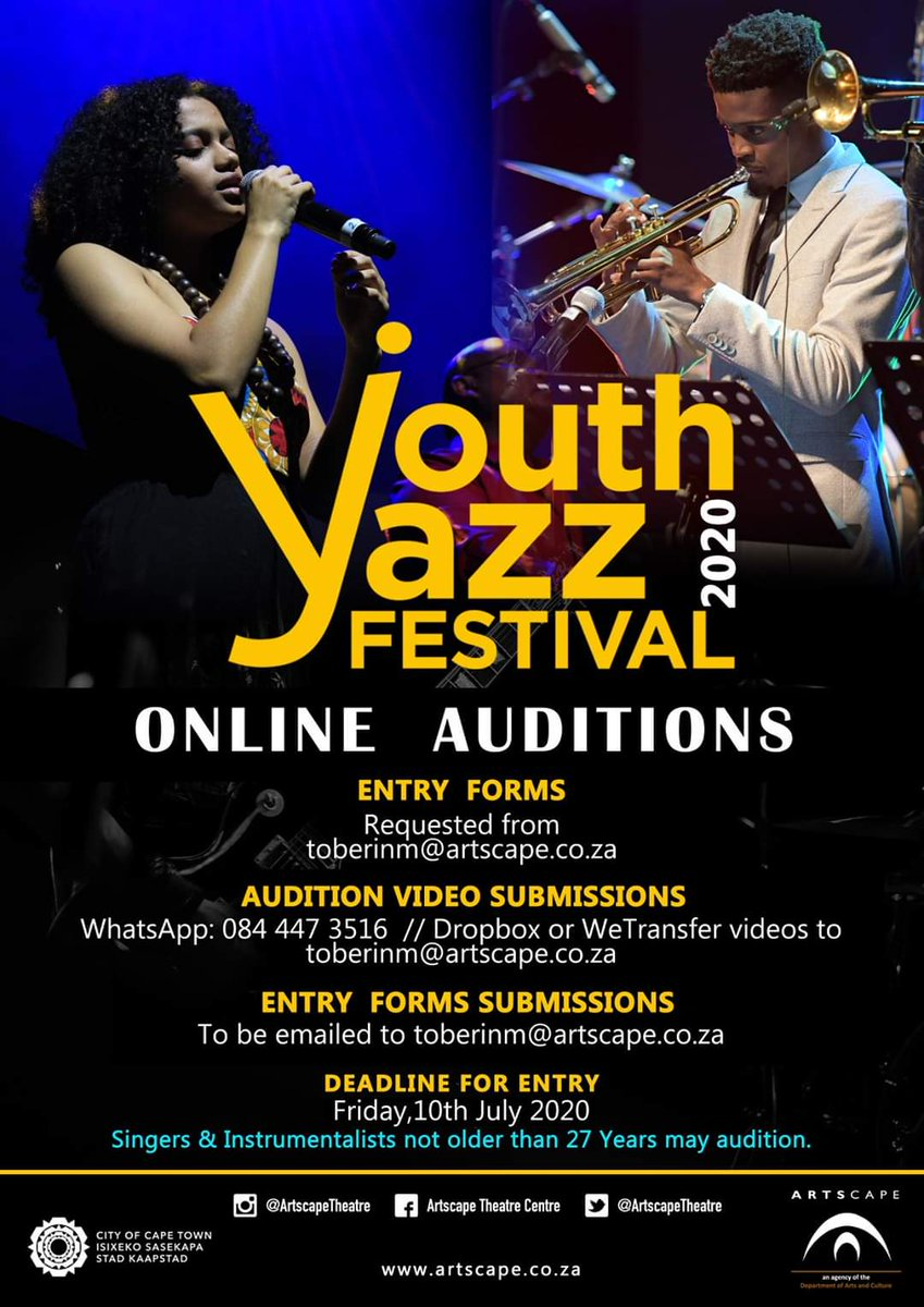 ARTSCAPE ONLINE AUDITIONS CALL OUT   Due to the Covid-19 Pandemic, Artscape is putting together an online Youth Jazz Festival & calls out young aspiring jazz musicians to submit an audition video via online platforms.   https://t.co/secyhmUGeo (Youth Jazz Festival Entry Form) https://t.co/WbprKrFDRh