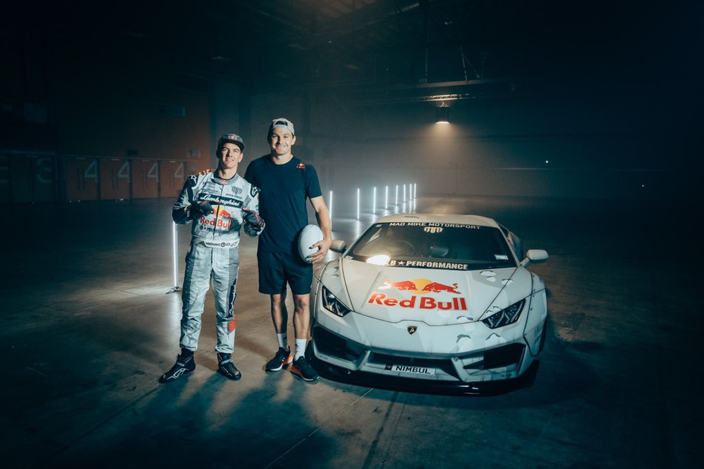 An epic day with @RedBullNZ and the drift legend Mad Mike 🏉🏎🎥  Keep your eyes peeled for something special in the next couple of weeks... 👀  #redbull #givesyouwings @redbull