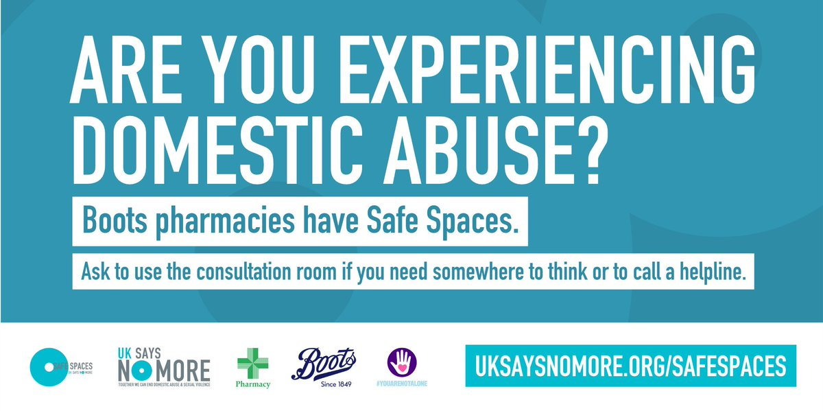 Many victims of domestic abuse are unable to seek support. @UKSAYSNOMORE, all @BootsUK stores and @Morrisons, @superdrug & some independent pharmacies have launched Safe Space. Go in & ask to use their consultation room. Find your nearest store here: uksaysnomore.org/where-is-my-ne…