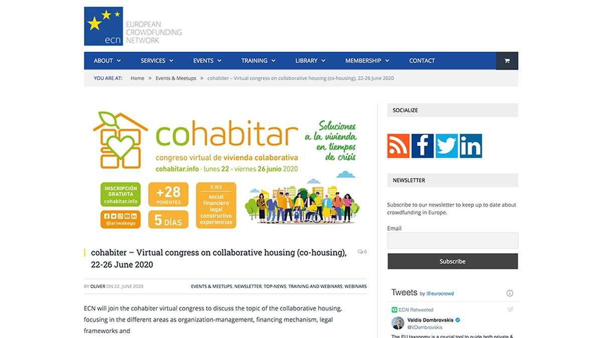 ECN will join the #Cohabitar virtual congress to discuss the topic of the collaborative housing as taking advantage of the publication of the #CrowdHO study,  #crowdfunding case studies for building strategies from private+public entities #CollaborativeEU https://t.co/HHzYprNwpM https://t.co/Oyrr8Frk0l