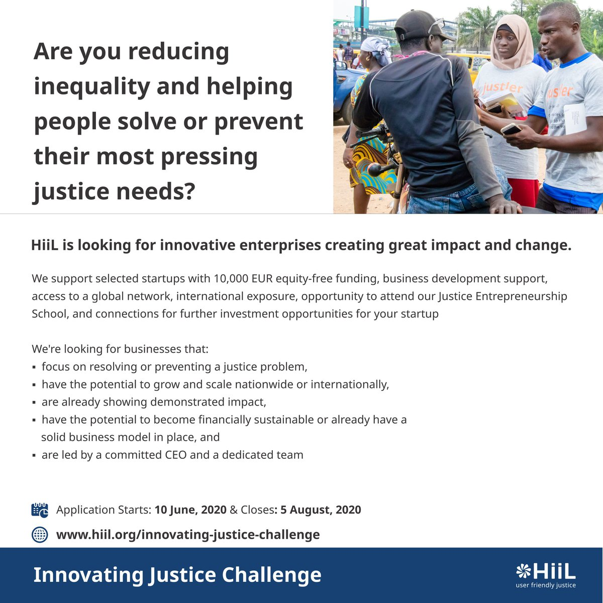 It's that time of the year again, the Innovating Justice Challenge is upon us! Please click on the link to apply if you are making justice more accessible. https://t.co/fc1aq6pgRD https://t.co/pX4CvlNBkO