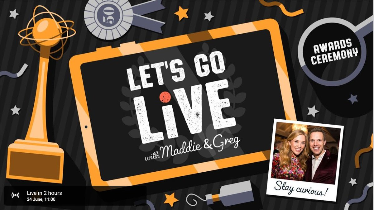 Today at 11am on #LetsGoLive is #AwardsCeremony with @maddiemoate & @gregfoot. Congratulations!!! To watch today's show visit: https://www.youtube.com/watch?v=d5Mu6mqFzF8…   #Teachers #STEM #STEMAtHome #homeschoolinguk #homelearninguk #Parents #Scienceathome #staycurious!pic.twitter.com/m8fQH3Ey7e